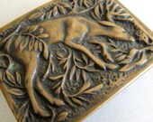Solid Brass Tech ether Guild, Inc 1975 Belt Buckle Whitetail Deer in the Woods