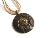 Button Pendant Necklace Brown Flower Vintage Buttons