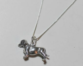 Sterling Silver 3D BEAGLE DOG Pendant  and Chain - Pet