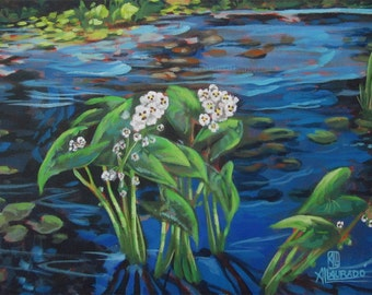 An original painting of a water lilies  in a bright blue pond
