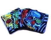 Handmade Quilted  Coasters set of 4 Skulls Geometric