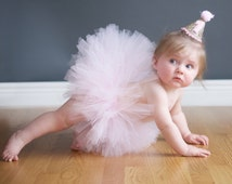 First Birthday Tutu, Cake Smash Tutu, First Birthday Outfit, SEWN Tutu, Toddler Tutu, Pink Tutu, Baby Girl Birthday Tutu, Princess Tutu Prop