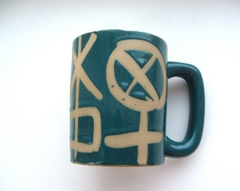 Vintage Coffee Mug with Primitive Symbols