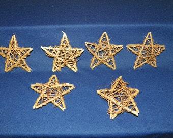 Set of 6,  4 Inch Grapevine Stars