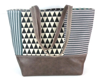 Large Tote, geometric tote, leather bottom bag, commuter bag, diaper tote, mom gift, grey and blue tote, striped bag, laptop tote, work bag