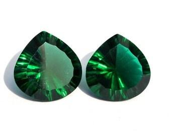 2Pcs 1 Match Pair AAA Chrome Green Quartz Concave Cut Heart Briolettes Size 15x15mm Concave Cut Gems (Choose The Drill Hole)