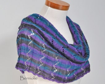 Knitted capelet, cowl, shoulderwarmer, dark grey, purple, blue, N295