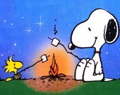 "CAMPING: PEANUTS Snoopy & Woodstock  on One 16"" Square fabric panel to Quilt or Sew"