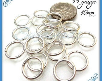 100 Strong Silver Plated Open Jump Rings 10mm 14 Gauge JRSP2