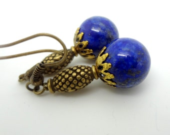 Lapis Earrings, Lapis Lazuli Earrings, Blue Earrings, Dangle Earrings