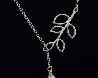 Pearl Lariat Necklace Fresh Water pearl Necklace Bridesdmaid Necklace