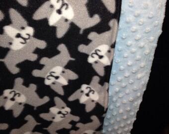 Boston Terrier Fleece & minky blanket
