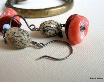Marjan* Organic Gemstone & Seed Earrings Oxidized Sterling Silver Betal Nut Coral and Agate Jewelry Earthy Bohemian Funky Tribal Earrings