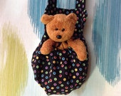 Rainbow Dots on Black with Golden Beany Teddy Stuffed Animal Carrier Great Gift for Kids Snack Water Bottle Carrier Too