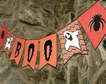 Halloween BOO Banner, Ghost and Spider Party Garland, Halloween Mantel Decoration, Black and Orange Halloween Garland, Boo Hanging Sign