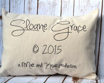 Personalized baby pillow name and copyright date, production date, photo prop for baby, Baby gift idea, twin gift, newborn gift, new parents