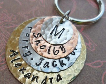 Family Stack Keychain -  Personalized Hand Stamped Keychain- Custom Names Words Dates -My Family Personalized Keychain- K61