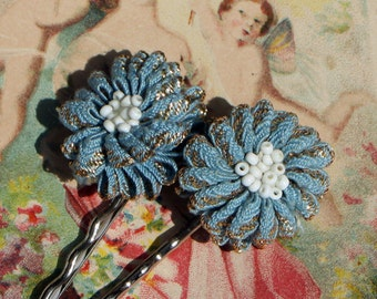 Baby Blue Bobbie Pins made with Vintage Earrings.