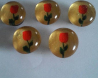 Red Roses  Rose on gold Hand painted glass gem magnets party favors valentines day