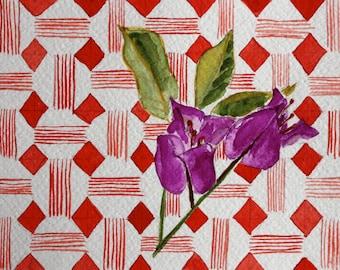 Bougainvillea blossom on red geometric pattern - Original 5 x 7 watercolor