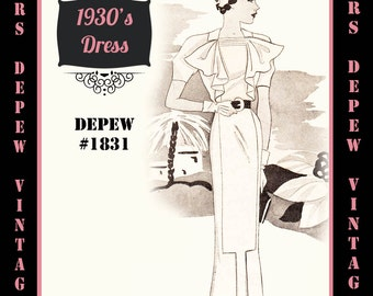 Vintage Sewing Pattern 1930s Dress with Jabot Any Size- Plus Size Included- Depew 1831 Draft at Home Pattern -INSTANT DOWNLOAD-