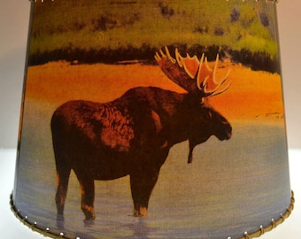 8 X 10 Clip Top,  Adirondack Decor Moose, Bear, Deer Lamp Shade