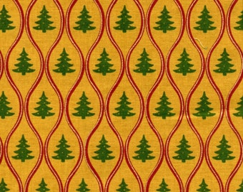 Christmas at Home Trees Metallic Ribbon Cotton Quilt Fabric