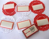 Vintage Dennison Labels, Paper Doilies Package, Red and White