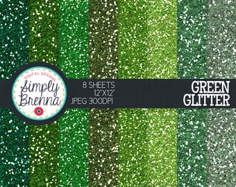 Green Glitter Paper Pack Colorful Glitter Digital Paper Personal & Commercial Use INSTANT DOWNLOAD