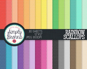Scalloped Digital Paper Pack - Rainbow Scallops - Colorful Patterned Paper Sheets - Personal & Commercial Use INSTANT DOWNLOAD