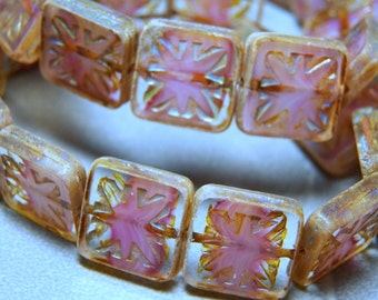 Czech Pink Square with Picasso 15mm Flat Glass Beads (10)