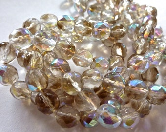 Czech Crystal Smoke AB Faceted Round 8mm Glass Beads (25)