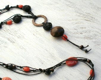 Bohemian Soul- Copper, Rhodocrosite, Czech Glass, Wood, Onyx and Waxed Linen Knotted Necklace