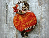 Wire Wrapped Pendant - Orange Crab Agate Necklace in Antique Bronze