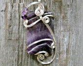 Amethyst Wire Wrapped Pendant Necklace in Silver - February Birthstone