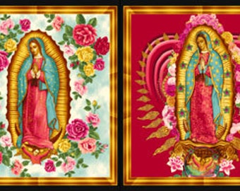 """Virgin Mary Our Lady of Guadalupe Quilt Fabric PANEL """"Inner Faith"""" Kaufman Gold Holy Mother Mexican"""