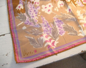 Vintage VERA Purple and Pink Floral Scarf with Original Tag- Signed- Made in Japan