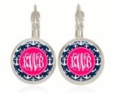 Monogram Earrings, Preppy Gift, Pink and Navy, Anchors, Preppy Earrings, Glass Dome Earrings (Pink and Navy Anchors - Drop Style Earrings)