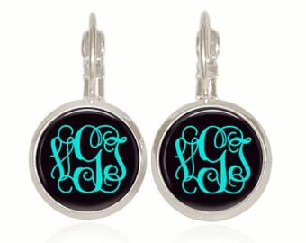 Monogram Earrings, Turquoise Earrings, Black Earrings, Personalized Gift, Gift For Her, Gift Under 10, Drop Earrings (Turquoise On Black)