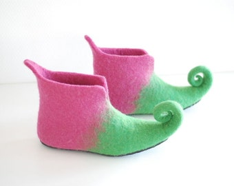 Fairy shoes felted home slippers in pink and green,  Custom colors HANDMADE TO ORDER