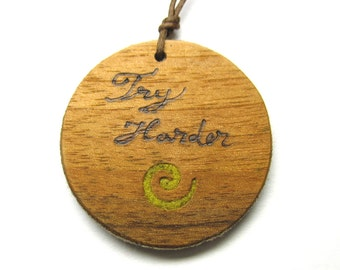 Try harder Inspirational Quote Necklace - Double Sided Pendant with Yellow Felt  Spiral and pyrographed handwriting and a Purple Butterfly