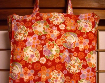 Japanese Tote Bag with Red Floral Medallions, TIGHT 'N' TIDY Tote Bag, Reusable Folding Shopping Bag, Traditional Kimono Pattern, Pink Green