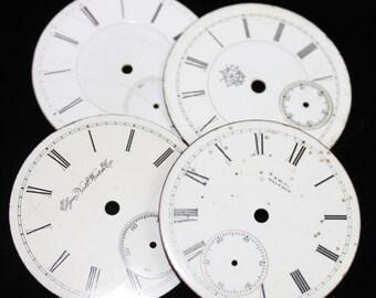 Vintage Antique Watch Dials Steampunk Faces Parts Enamel Porcelain Metal GB 56
