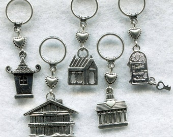 Home Sweet Home Knitting Stitch Markers Houses Homes No Place Like Home Set of 5/SM50