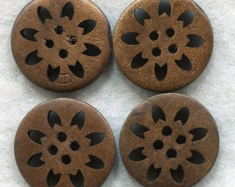 Lacy Cut Buttons Dark Chocolate Brown Floral Wooden Buttons 24mm (1 inch) Set of 4 /BT246