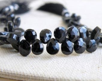 Black Spinel Gemstone Faceted Pear Teardrop Briolette 7.5mm 32 beads 1/2 Strand