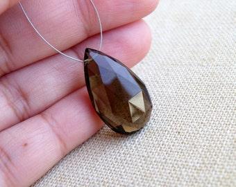 Smoky Quartz Gemstone Briolette Faceted Pear Teardrop Pendant Focal 23.5mm 1 bead