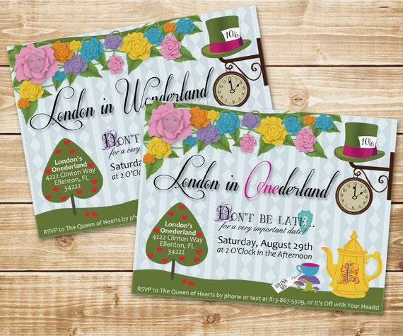 DIGITAL Alice in Wonderland (ONEderland) UnBirthday Tea Party Invitation - Colorful, flowers, tea pot, clock