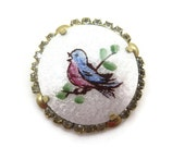 Enamel Bird Brooch - Guilloche and Rhinestone Costume Jewelry