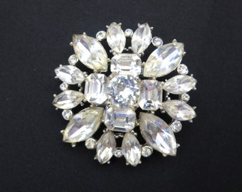 Rhinestone Brooch - 1950s Bridal Costume Jewelry Clear Stones
